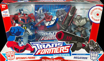Transformers Animated The Battle Begins: Optimus Prime (battle damage) vs. Megatron (metallic)