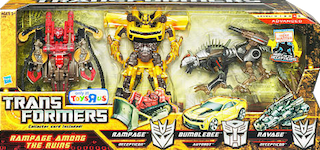 Transformers Hunt for the Decepticons Rampage Among the Ruins - Rampage, Bumblebee, Ravage (TRU Exclusive)