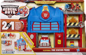 Transformers Rescue Bots Fire Station Optimus Prime (with Heatwave)