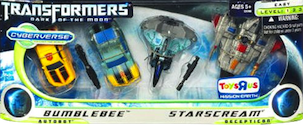 Cyberverse Bumblebee and Starscream Evolutions - Cybertronian & non-Cybertronian (Toys R Us exclusive)