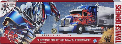 Transformers Platinum Edition Optimus Prime w/ trailer and Sideswipe