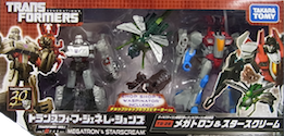 Transformers Generations (Takara) TG-28 Megatron and Starscream, with Chop Shop and Waspinator