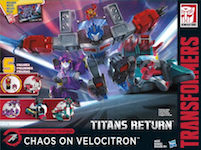 Transformers Generations Chaos on Velocitron - Series Pack w/ Quickswitch, G2 Laser Optimus Prime, Lost Light Nautica & Fastlane