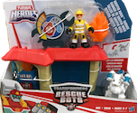 Transformers Rescue Bots Griffin Rock Garage w/ Kade Burns and Fireplug