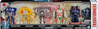 Transformers 5 The Last Knight Reveal the Shield 1-Step Turbo Changer Mega Pack w/ Optimus Prime, Bumblebee, Autobot Hound, Barricade & Megatron
